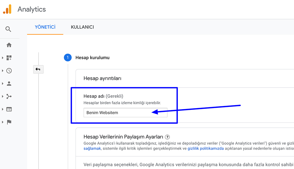 Google Analytics Mülk Adı